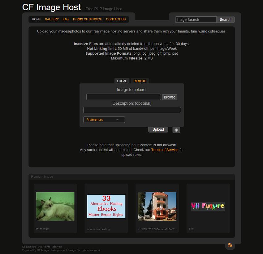 CF Image Host - Free PHP Image Host script clone site