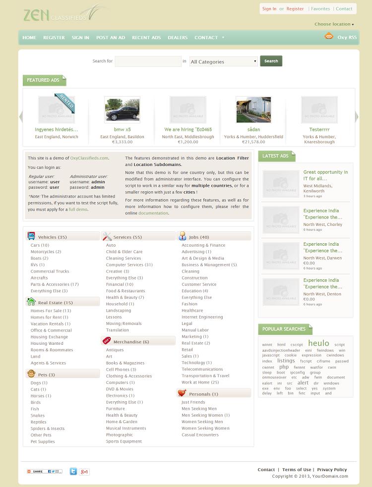 OxyClassifieds - 99 Clone Scripts