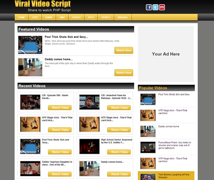 Share 2 Watch Script Youtube dailymotion clone script