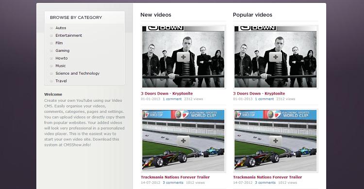 Video CMS - CMS youtube dailymotion clone script video sharing website script
