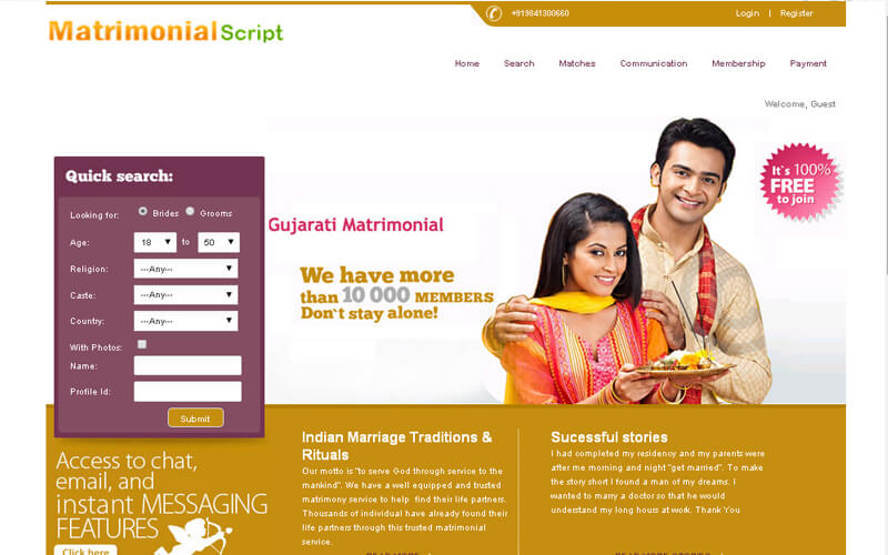 Matrimonial Website Script 3 Templates